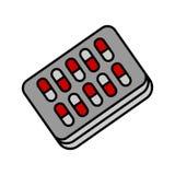 Icono del vector del paquete de ampolla de las píldoras EPS 10 Imagenes de archivo