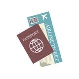 Icono del vector del pasaporte y del billete de avión Viaje y turismo del concepto Foto de archivo libre de regalías