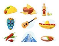 Icono del vector fijado con los elementos mexicanos tradicionales Foto de archivo libre de regalías