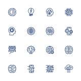 Icono del vector fijado para el concepto de la inteligencia artificial Diversos símbolos para el tema AI usando diseño plano Fotografía de archivo