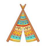 Icono del vector del garabato de la tienda india de la tienda de los indios norteamericanos Foto de archivo