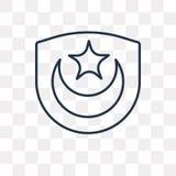 Icono del vector del Islam en el fondo transparente, Isl linear stock de ilustración