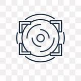 Icono del vector del objetivo aislado en el fondo transparente, objetivo linear t ilustración del vector