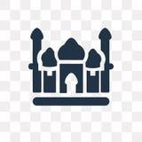 Icono del vector del Taj Mahal aislado en el fondo transparente, Taj mA ilustración del vector
