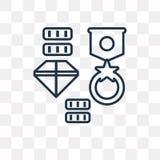 Icono del vector del tesoro aislado en el fondo transparente, linear libre illustration