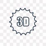 icono del vector del texto 3D aislado en el fondo transparente, 3 lineares libre illustration