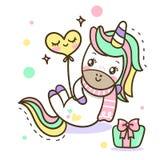 Icono del vector del unicornio aislado en blanco Etiqueta engomada del potro, insignia del remiendo Animal lindo de la fantasía m ilustración del vector