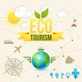 Icono del vector y escritura de la etiqueta del turismo y del viaje de Eco Imagen de archivo