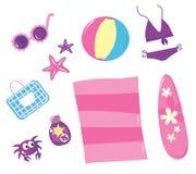 Icono del verano, del recorrido y de la playa fijado (color de rosa) Fotografía de archivo