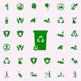 icono del verde de la caja de la basura sistema universal de los iconos de Greenpeace para el web y el móvil ilustración del vector