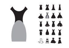 Icono del vestido de la mujer stock de ilustración