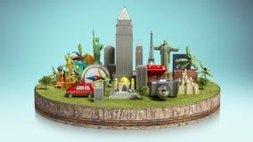 Icono del viaje, un punto famoso de la vista cámara, equipaje en la tierra stock de ilustración