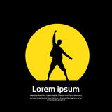 Icono del viajero que plantea la mano encima del fondo del amarillo del negro del espacio de Logo Hiker Trekker Empty Copy Fotografía de archivo libre de regalías