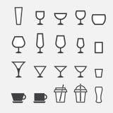Icono del vidrio y de la taza Imagen de archivo libre de regalías