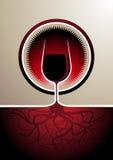 Icono del vino rojo con el vidrio como la vid Foto de archivo libre de regalías
