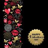 Icono del vintage del modelo de la tarjeta de felicitación del día de tarjetas del día de San Valentín ilustración del vector