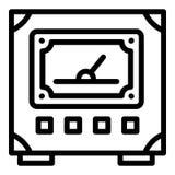 Icono del voltímetro, estilo del esquema ilustración del vector