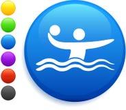Icono del water polo en el botón redondo del Internet Fotos de archivo