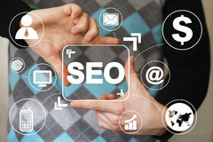 Icono del web de la comunicación del botón SEO del negocio virtual Fotografía de archivo libre de regalías