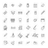 Icono del web del esquema fijado - herramientas de dibujo Fotos de archivo