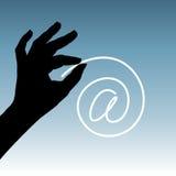 Icono del Web en la mano Fotografía de archivo libre de regalías