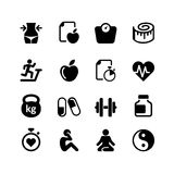 Icono del web fijado - salud y aptitud Foto de archivo