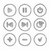 Icono del Web Sistema de cepillos del grunge del vector Tinta dibujada mano abstracta Fotos de archivo libres de regalías