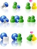 Icono del Web y del Internet (color) Imagen de archivo