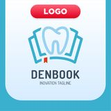 Icono dental Logo Design Element del libro de la clínica ilustración del vector