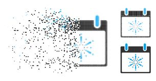 Icono descompuesto del día de Dot Halftone Fireworks Boom Calendar stock de ilustración