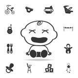 Icono descontento bebé Sistema de iconos de los juguetes del niño y del bebé Diseño gráfico de la calidad superior de los iconos  stock de ilustración