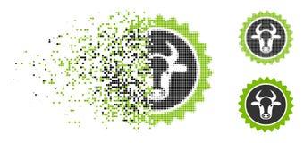 Icono destrozado de Dot Halftone Beef Certificate Seal libre illustration
