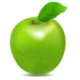 Icono detallado de la manzana verde brillante grande Fotografía de archivo