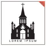 Icono determinado de la iglesia negra del vector en el fondo blanco Imágenes de archivo libres de regalías