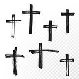 Icono dibujado mano cruzada del vector de la brocha del crucifijo stock de ilustración