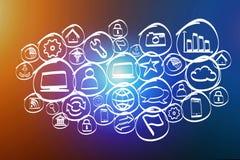 Icono dibujado mano de la tecnología exhibido en un interfaz futurista Imagen de archivo