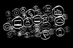 Icono dibujado mano de la tecnología exhibido en un interfaz futurista Imagenes de archivo