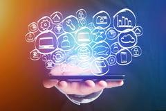 Icono dibujado mano de la tecnología exhibido en un interfaz futurista Fotografía de archivo