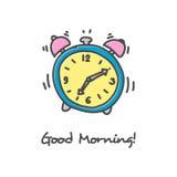 Icono dibujado mano del despertador Imágenes de archivo libres de regalías
