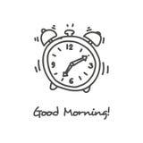 Icono dibujado mano del despertador Foto de archivo