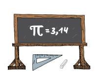 Icono dibujado mano del símbolo del pi, muestra matemática caligráfica del Grunge en el ejemplo del vector del blakboard de la es ilustración del vector