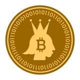 Icono digital de oro del vector de la moneda de la corona símbolo plano amarillo del cryptocurrency de la moneda del oro aislado  Imagen de archivo libre de regalías