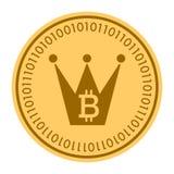 Icono digital de oro del vector de la moneda de la corona símbolo plano amarillo del cryptocurrency de la moneda del oro aislado  Fotos de archivo libres de regalías