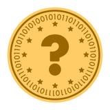 Icono digital de oro del vector de la moneda de la pregunta símbolo plano amarillo del cryptocurrency de la moneda del oro aislad Imagen de archivo libre de regalías
