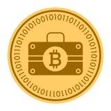 Icono digital de oro de la moneda del caso El estilo del vector es un símbolo plano del cryptocurrency de la moneda del amarillo  Foto de archivo
