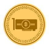 Icono digital de oro de la moneda de Videocard El estilo del vector es un símbolo plano del cryptocurrency de la moneda del amari Fotografía de archivo libre de regalías