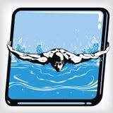Icono dinámico del estilo de la mariposa de la nadada stock de ilustración