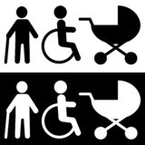 Icono discapacitado en estilo plano de moda aislado en fondo ilustración del vector