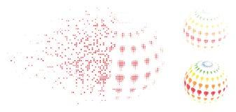 Icono disipado de Dot Halftone Abstract Aerostat Sphere Ilustración del Vector