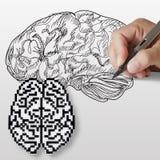 Icono drenado mano del cerebro y del cerebro del pixel Fotos de archivo